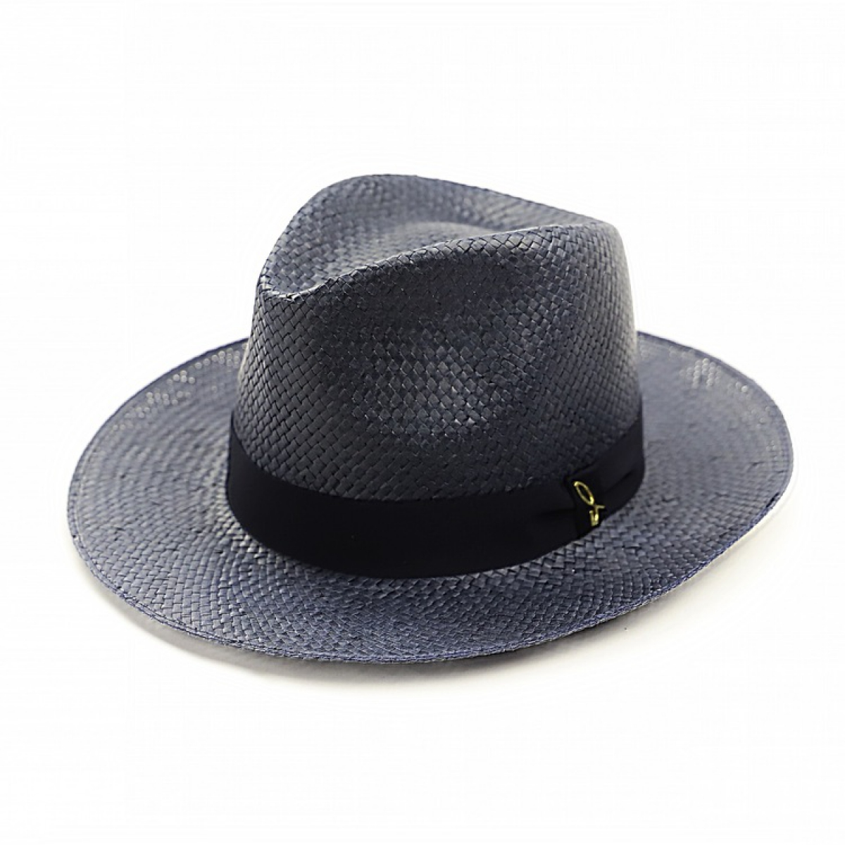 Blue made in Italy straw hat with black ribbon b7e11ddfb74d